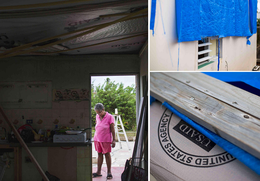 Maritza Cruz Sánchez did not receive any assistance from FEMA to repair her home in Punta Santiago, Puerto Rico. Tarps still cover the roof.