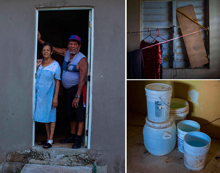 Gilberto Diaz and María Carrion are still living without running water. They currently get water from a hose connected to the house next door.